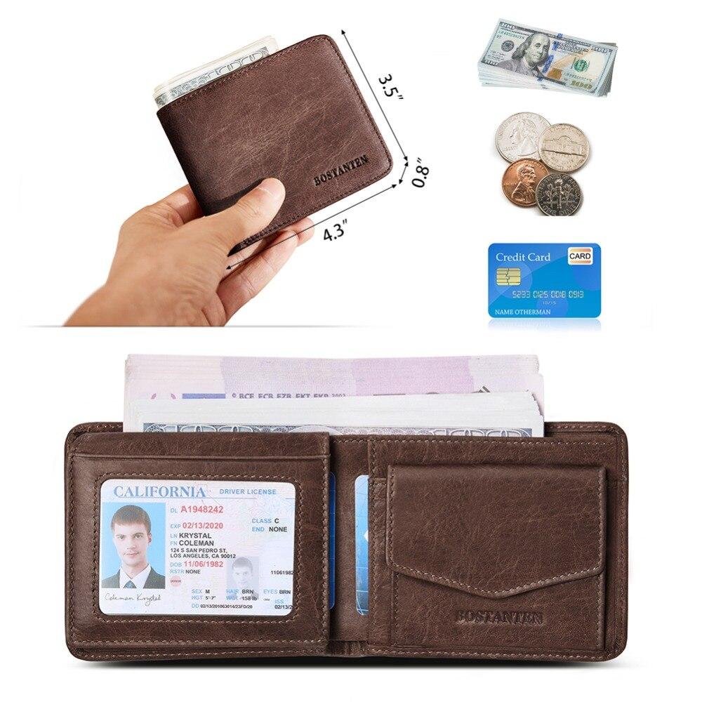 BOSTANTEN мужской ID/кредитный держатель для карт, двойной передний карман, кошелек с коробкой, RFID Блокировка, бизнес-держатель для карт, натуральная кожа