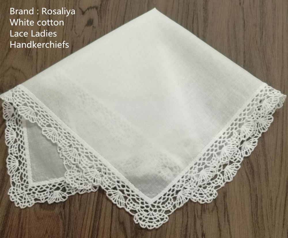 12PCS/Lot New Wedding Handkerchiefs 12x12White Cotton Ladies Handkerchief Embroidery Crochet Lace Edgins Hankies Hanky For Bride