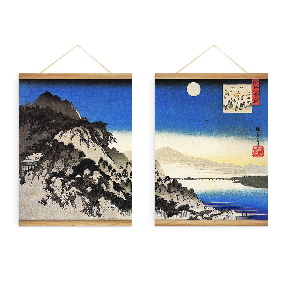 Wooden Scroll Wall Art 2 Pieces Japanese Full Moon River Landscape Decoration Wall Art