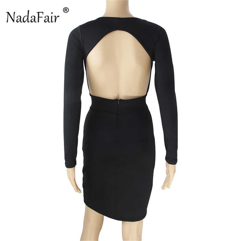 Nadafair/облегающее платье с длинными рукавами и открытой спиной; красные, черные драпированные женские осенние платья с глубоким v-образным вырезом; пикантные вечерние платья для клуба