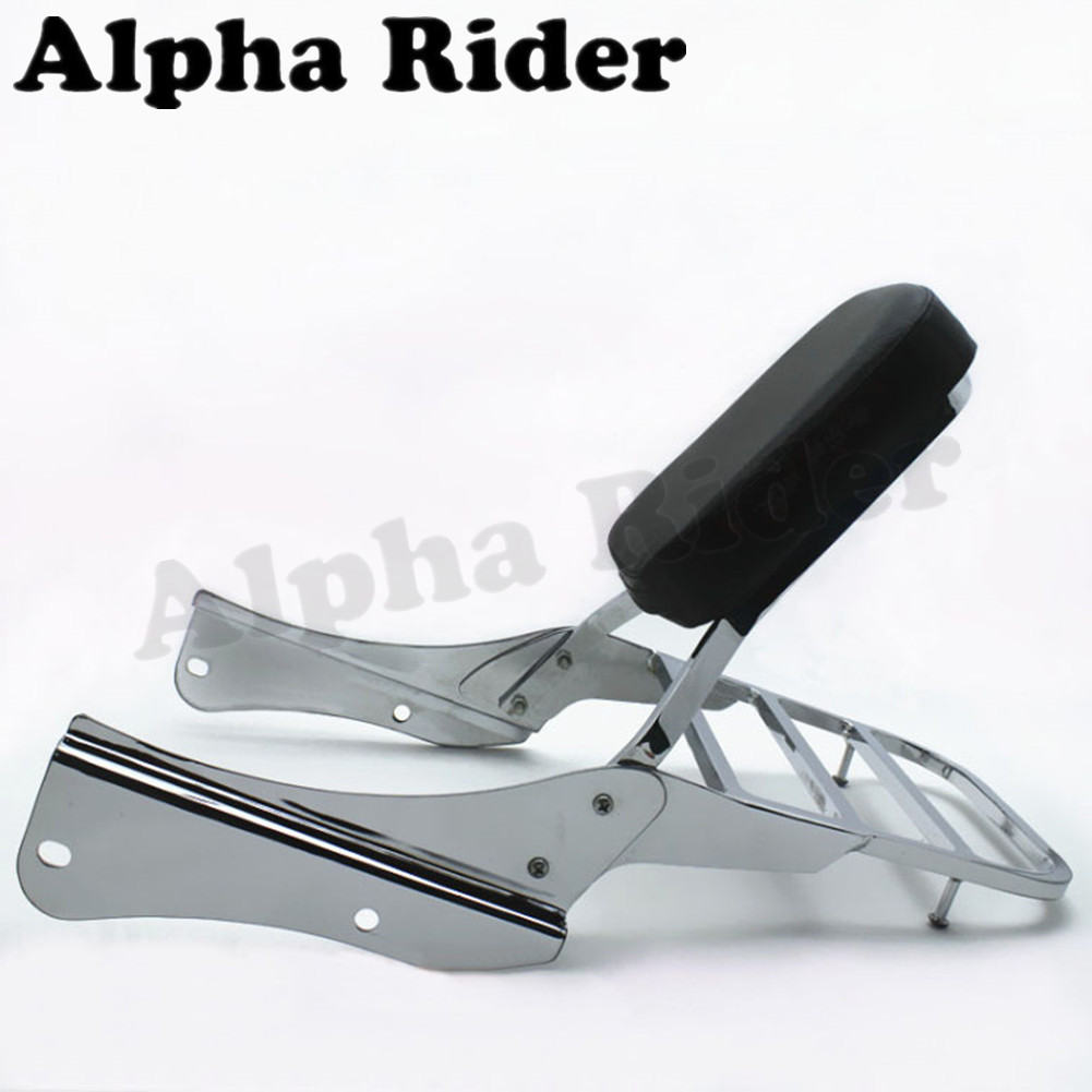 Rear Luggage Rack Support Tail Box Holder Cargo Shelf Bracket w/ Backrest Sissy Bar for Honda Shadow Spirit 750 2001 2002 2003