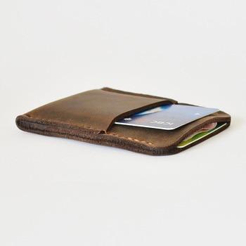 Rétro Fait Main de Crédit porte-carte Hommes Mini Portefeuille pour Carte De Crédit Couverture Poche Avant Mince Étui Top En Cuir de Cheval Fou