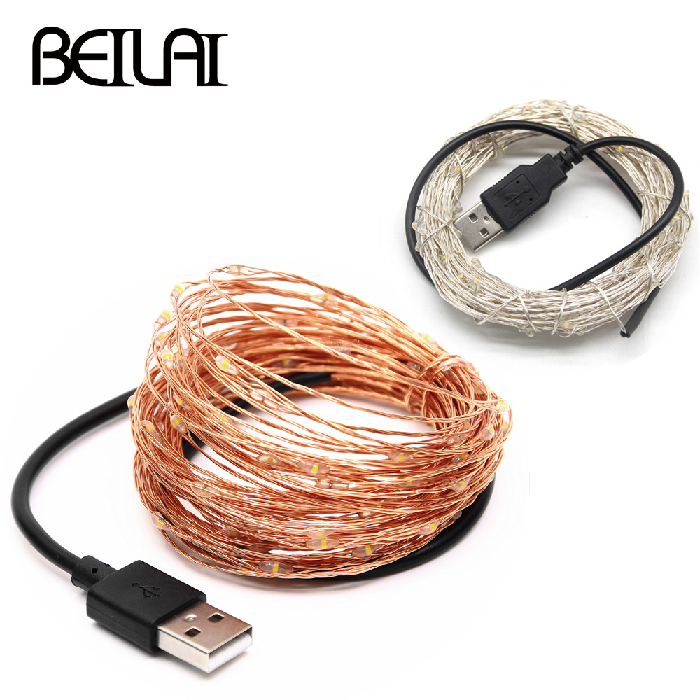 5V USB LED String Light 10M 5M Copper Silver Wire Waterproof Fairy LED Christmas Lights For Wedding Party Holiday Decoration