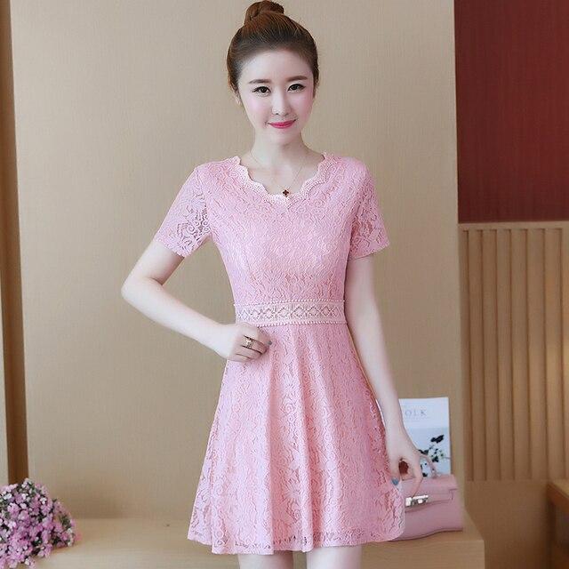 8ce8d2263 2018 nueva moda de verano mujeres Vestido de manga corta Slim vestidos de  encaje blanco negro