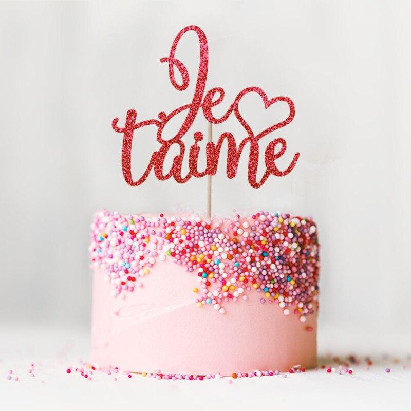 Je T'aime Cake Topper - Glitter tema de París Decoración de bodas - Para fiestas y celebraciones - foto 3