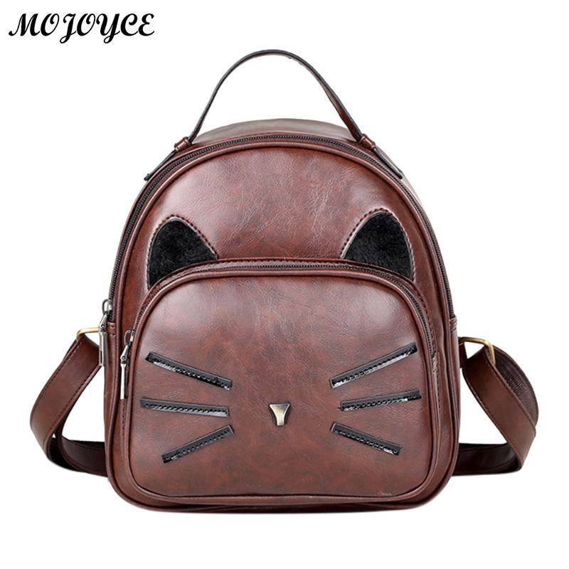 ecdc5ae5e79e Cute Cat Glitter PU Leather Women Backpacks Shoulder School Bags Teenage  Girls Mini Travel Rucksack Features  The fashion version of the  type concise but ...