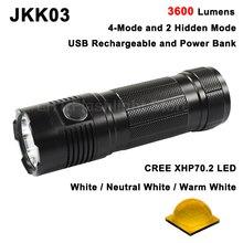 JKK03 Cree XHP70.2 LED 3600 Lumens 6 מצב USB נטענת LED פנס (3x18650)