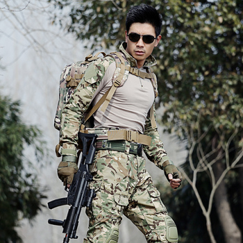 Outdoor Mens Hunting Clothing Military Army Uniforms Tactical Camouflage Hunting Clothes Combat Shirt and Pants With Knee Pads
