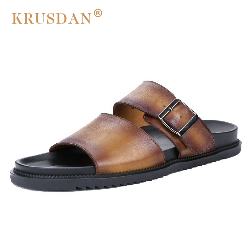 2017 leather casual shoes sandals hot sale summer beach shoes shoes men's leather breathable slippers slip on handmade original summer sandals male toe slip beach shoes breathable leather sandals korean 2016 new men slippers