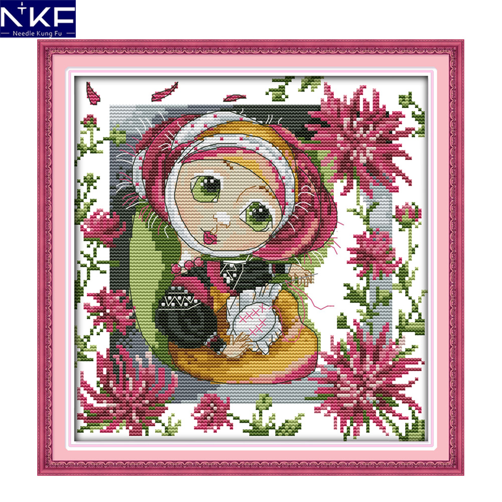 NKF The embroidery hobby girl handcraft needlepoint kits counted stamped  canvas Christmas cross stitch sets for home decoration