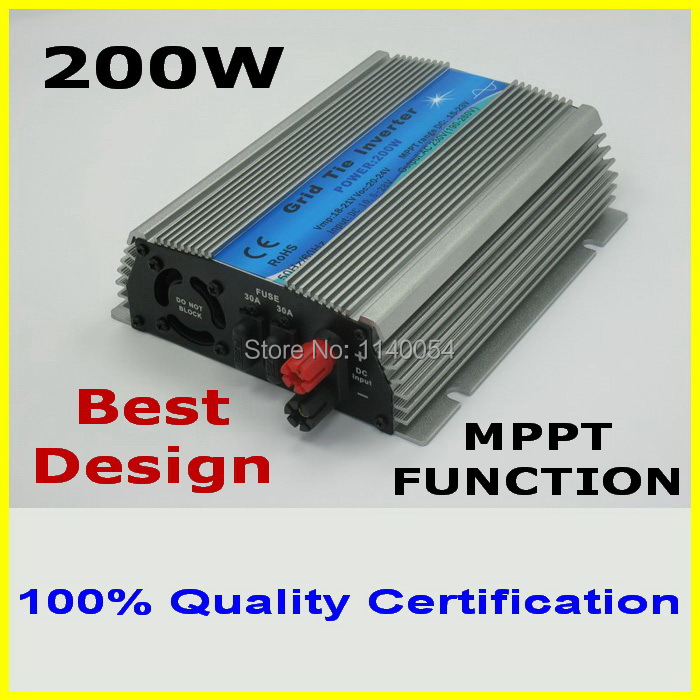 цена на 200W MPPT grid tie inverter,10.5-28V DC to AC 110/220V pure sine wave output solar wind power inverter, 2-year quality warranty