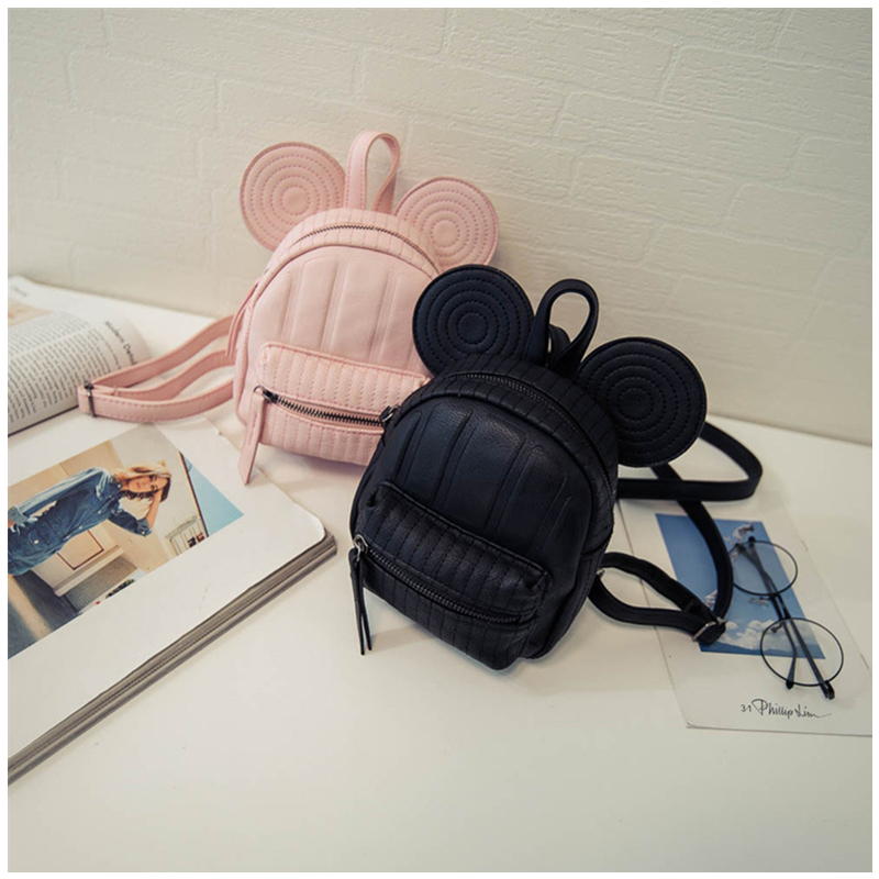 Women Leather Backpacks Cartoon Mickey Ears Fashion Mini Casual Bags For School Students Teenagers Travel Small Cute Child Bag