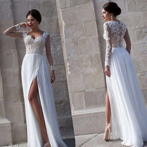 Aliexpress.com : Buy Elegant White Party Dresses Floor Length Long ...