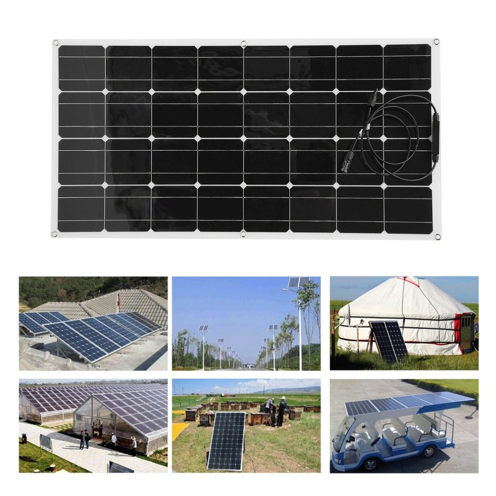 100W 12V Monocrystalline Flexible Solar Panel Module Outdoor Solar Charging Device Solar Power System For Off Grid RV Boat