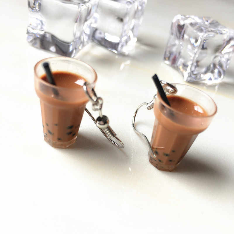 Creative Unique Bubble Tea Drop Earrings Personality Resin Milk Tea Drink Earring for Girl Funny Party Jewelry Christmas Gifts