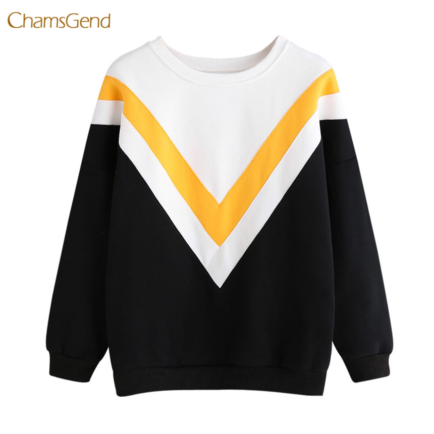 CHAMSGEND 2018 Women Hoodies Winter Warm Hoodies and Pullovers Causal Style Female Striped Printing Hoodies Slim Cotton Pullover
