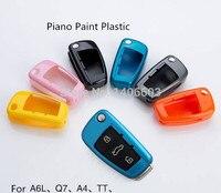 New Car Thay Thế Lật Trường Hợp Key Bìa cho Audi A6L Q7 A4 Shell TRỐNG sơn Đàn Piano Vật Liệu Nhựa