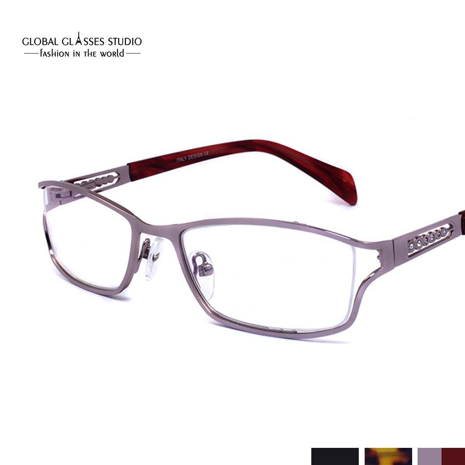850813fc577ae Pedras de Cristal Decoração moda Mulheres De Metal óculos de Armação Óptica  com o templo de acetato dicas Preto Roxo Marrom 5060