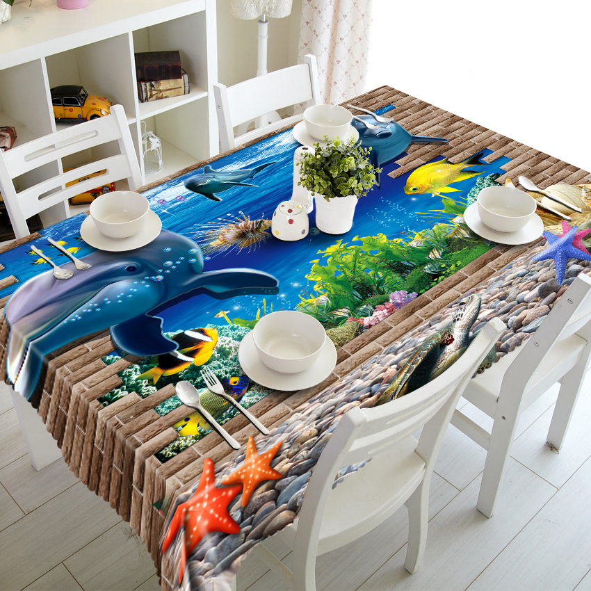 3D Tablecloth Underwater World Dolphins Turtles Christmas Washable Cloth Thicken Rectangular and Round Wedding Table Cloth