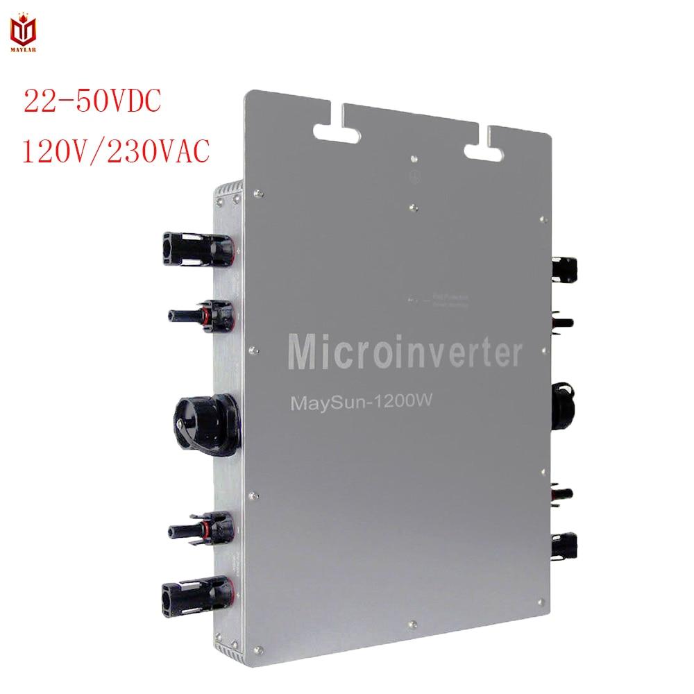 MAYLAR @ Maysun1200W Solaire Cravate de Grille Micro Inverter Avec 4 MPPT Fonction Sortie Onde sinusoïdale Pure Solaire Convertisseur 100V-240Vac