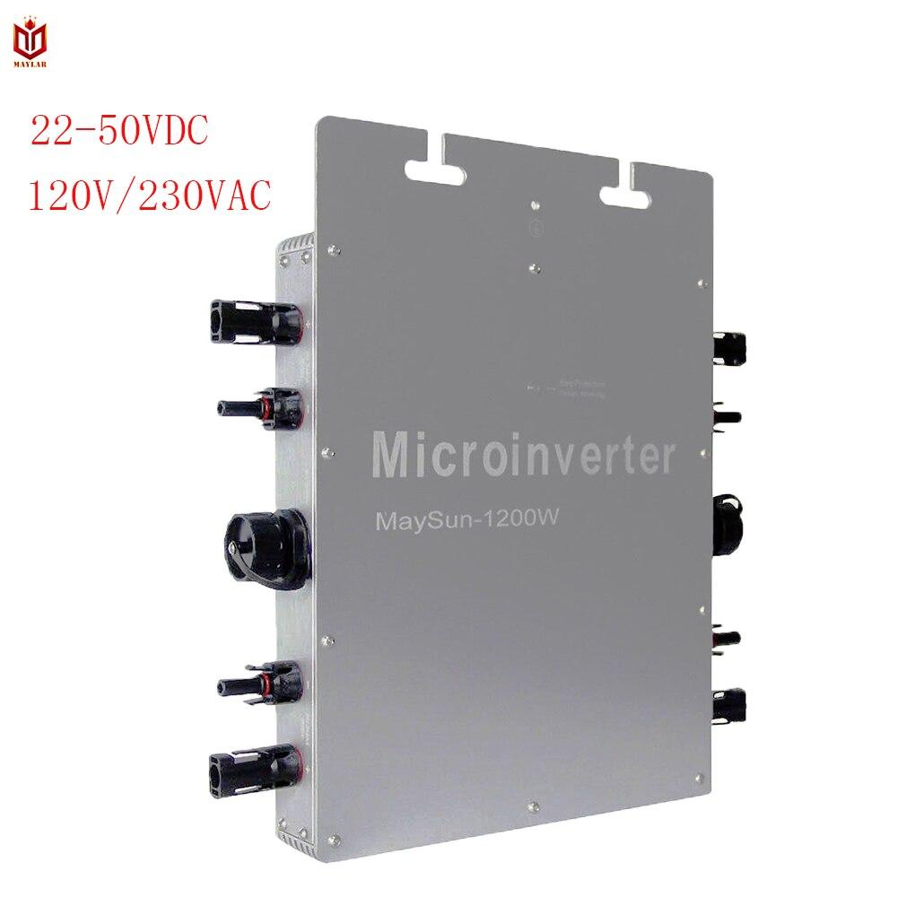 MAYLAR @ Maysun1200W Solare del Legame di Griglia Micro Inverter Con Funzione di MPPT 4 di Uscita Onda Sinusoidale Pura Convertitore Solare 100V-240Vac