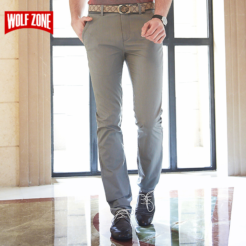 2018 New Casual Pants Men Classic Brand Fashion Slim Fit Straight Mens Trousers Formal Business Cotton Clothing for Male