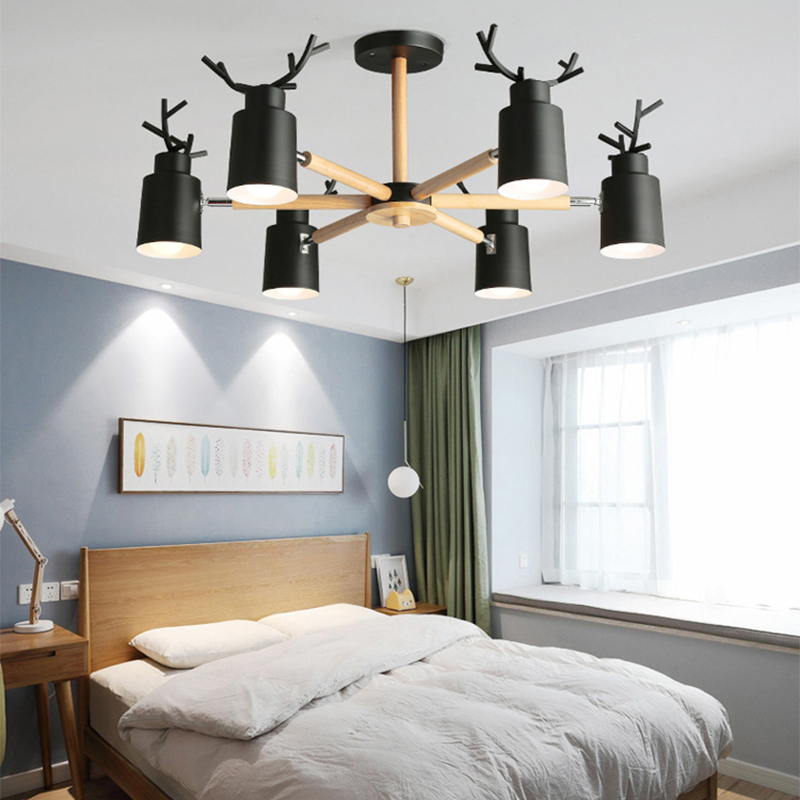 Nordic Log Living Room Bedroom Chandelier E27 Led Metal Lampshade Creative Personality Kitchen&restaurant Warm Antler Chandelier