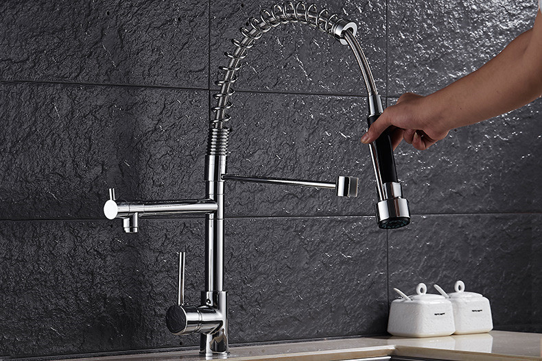Free ship Deck Mounted Single Handle NEW pull out spray spout Kitchen Faucet Sink Mixer Tap Double Water Spout Chrome new pull out sprayer kitchen faucet swivel spout vessel sink mixer tap single handle hole hot and cold