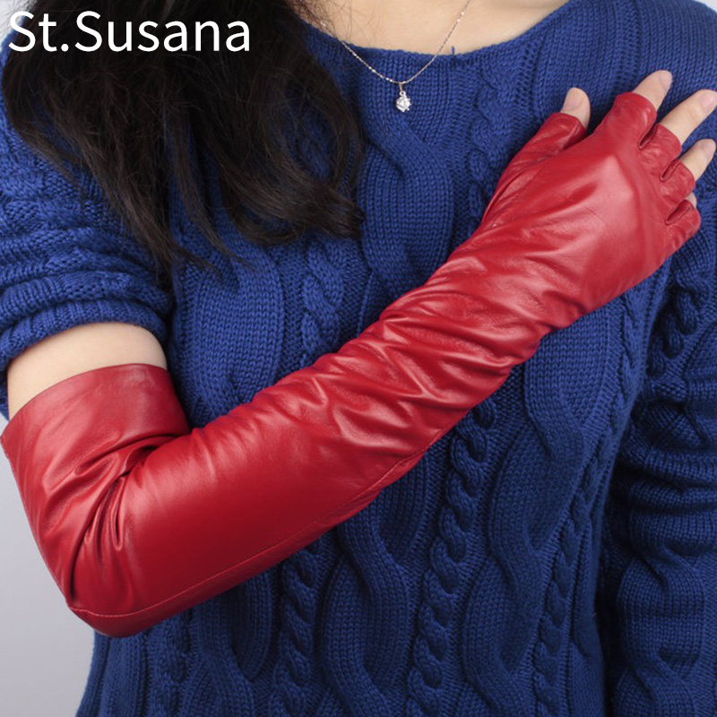 2017 lady red real leather gloves sheepskin long new style type Women 50cm fashion genuine lambskin leather fingerless gloves