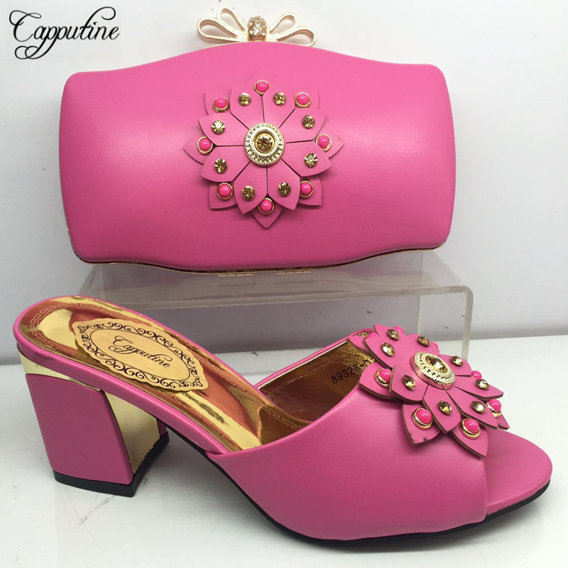Capputine African Shoes With Matching Bag For Party With Stones Wedding Shoes And Bag Set High Quality Women Pumps Shoes BL225CCapputine African Shoes With Matching Bag For Party With Stones Wedding Shoes And Bag Set High Quality Women Pumps Shoes BL225C