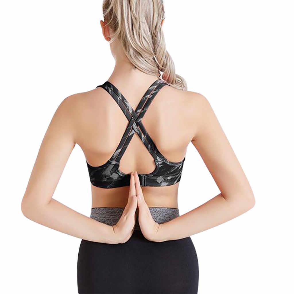 KANCOOLD Mujer Deporte Sujetador Top negro acolchado Yoga sujetador Fitness deportes Top Yoga Mujer Deporte Sujetador Push Up sujetador camuflaje