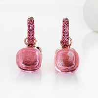 FORIS 14 Colors Fashion Rose Gold Color Pink Zircon Earrings For Women Gift Fine Jewelry