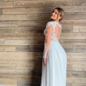 Image 2 - Plus Size Wedding Dress 2020 Long Sleeves Chiffon Appliques Beach Bridal Dress Long Sleeves Cheap High quality Wedding Gowns