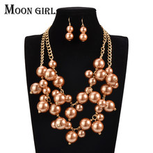 2016 MOON GIRL Fashion African Beads Jewelry Set Hot statement necklace set for women online shopping india Pearl making choker(China)