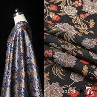 High grade high precision jacquard fashion fabric gold line peony dress windbreaker dress fabric 145cm wide 350g/m
