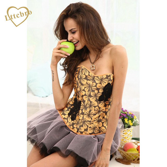 Yellow Corset Women Sexy Waist Corset Overbust Colorful Flower Corset And Bustier Outwear Corset Top