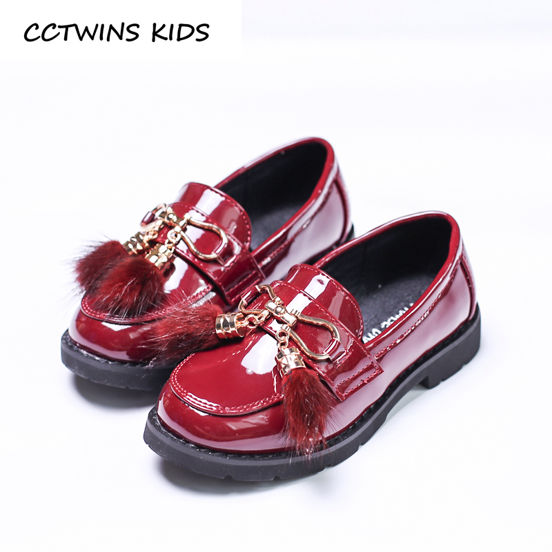 CCTWINS KIDS 2017 Toddler Fashion Black Pompom Loafer Children Brand Buckle Red Baby Girl Pu Leather