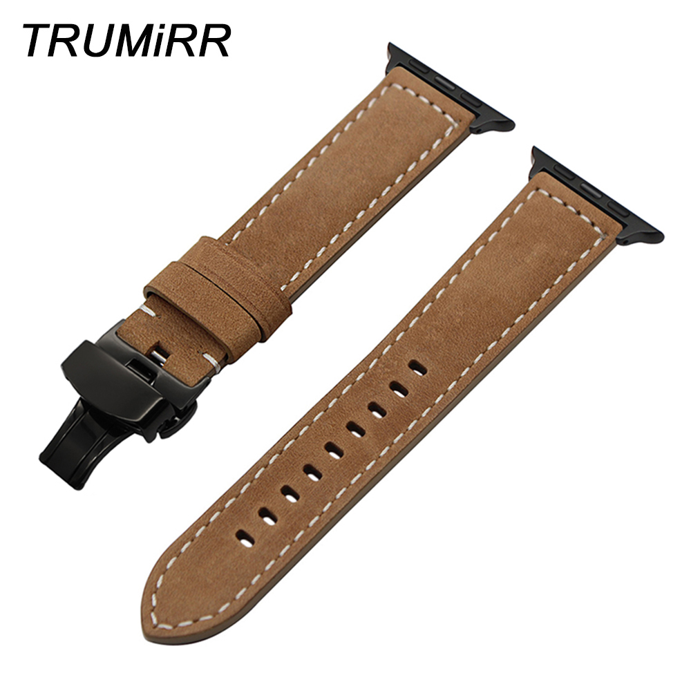 Italian Genuine Leather Watchband for iWatch Apple Watch Series 1 2 3 4 38mm 40mm 42mm 44mm Band Steel Butterfly Buckle Strap цена