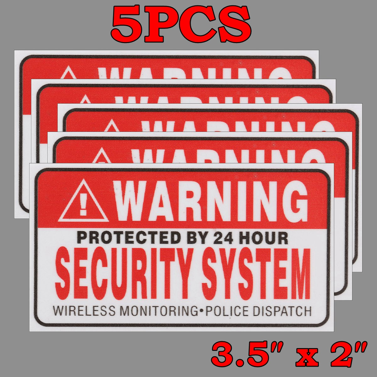 5Pcs/Set Warning Protected by 24 Hour Security System Stickers Saftey Alarm Signs Decal Warning Mark Business 9*5cm Car Styling стоимость