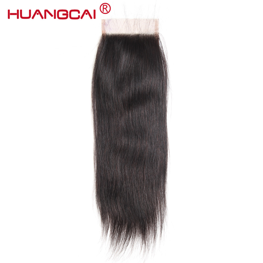 Huangcai Straight human hair Lace Closure with baby hair 4x4inch size 130% non remy hair free part no shed and...