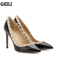 Fashion Women Shoes Rivet Studded Genuine Leather High Heels Women Pumps  Pointed Toe 6cm 8cm 10cm 322945c89fc0