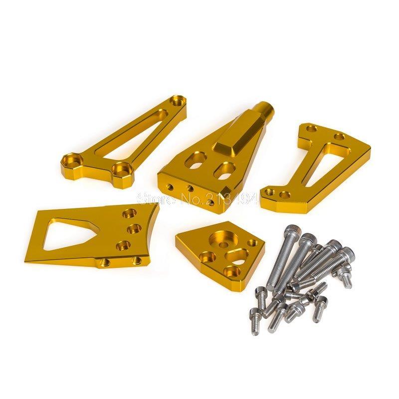 ФОТО New 1 Set Steering Damper Mounting Kit For Kawasaki Ninja650R ER-6N/F 09-11 ER-4N/F 11-14 Gold Supplies