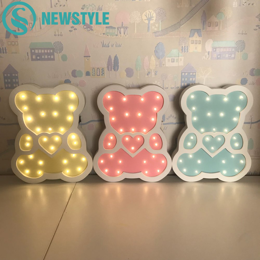 Newstyle Wooden Bear LED Night Light Cartoon Bedside Wall Night Lamp Light Children Baby Kids Bedroom Home Decorative Lighting