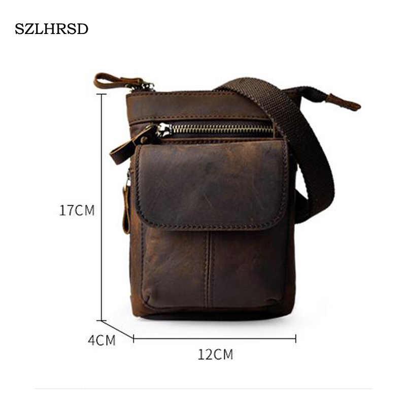 "SZLHRSD Retro oil wax Genuine leather 7""Universal Outdoor Waist Phone Bag Pouch Case for Xiaomi Mi MIX 2S Blackview P10000 Pro"