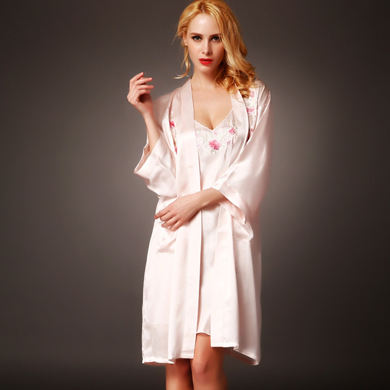 Brand Sexy Nightdress 100% Silk Bathrobes Autumn Female 2 Piece sets Heavy Silk Bathing Robe Set Long-Sleeved Women Sleepwear