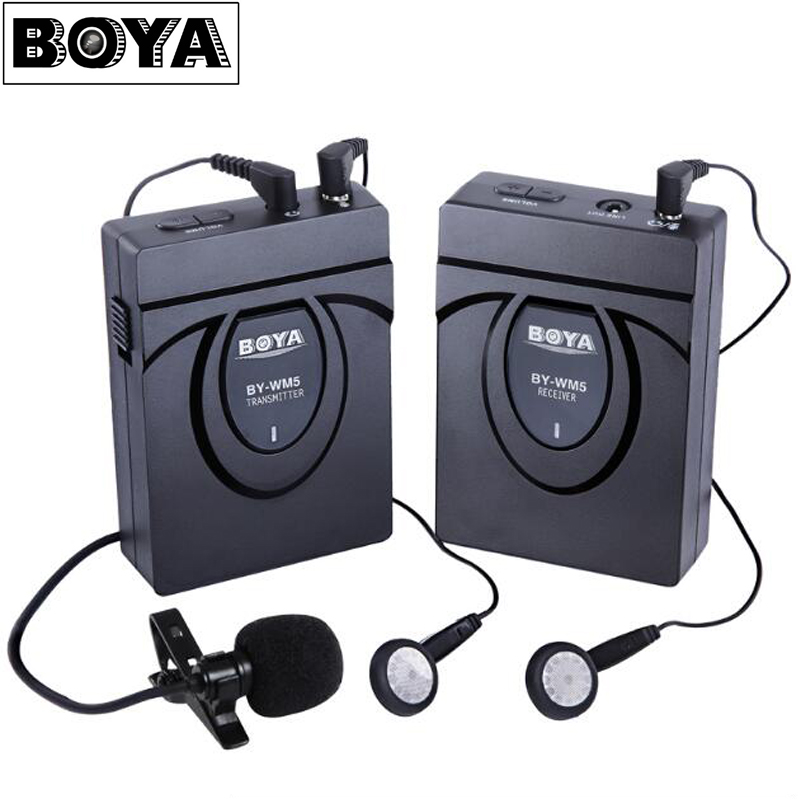 BOYA BY-WM5 Professional Wireless Lavalier Microphone Audio Studio Recorder System for Canon Nikon Sony DSLR Camera Camcorder DV boya uhf wireless lavalier microphone recorder system for video interview broadcast mic canon nikon dslr camera sony camcorder