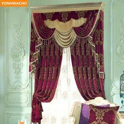 Niestandardowe zasłony wysokiej jakości czerwony europejskiej chenille żakardowe sypialnia pokój ślub tkaniny blackout zasłony tiulowe falbany zasłony N974