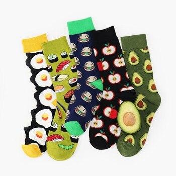 Unisex Fashion High Hosiery Socks Women Men Fruit Happy Funny Crew Socks Avocado Apple Egg Pattern Colorful Cotton Soft Socks