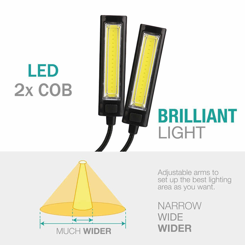 2018 высокое качество гибкий USB клип на 2x COB светодиодный свет для чтения Кабинет Настольная лампа перезаряжаемая Прямая доставка