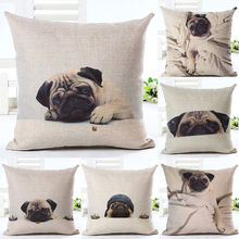 Fun Pug Dog in Bed Throw Pillow Cover Decorative Massager Pillows Case Zip  DIY Home Decor